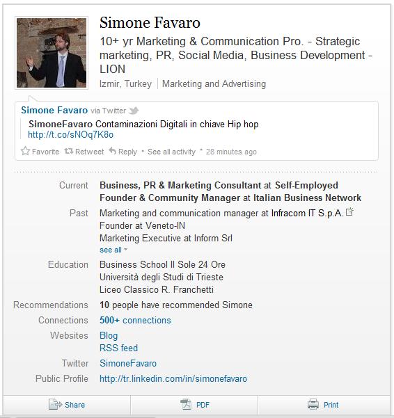 Guida a LinkedIN - Profilo - Scheda Riassuntiva