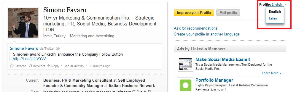 Creare un profilo multilingua in LinkedIN - step 4