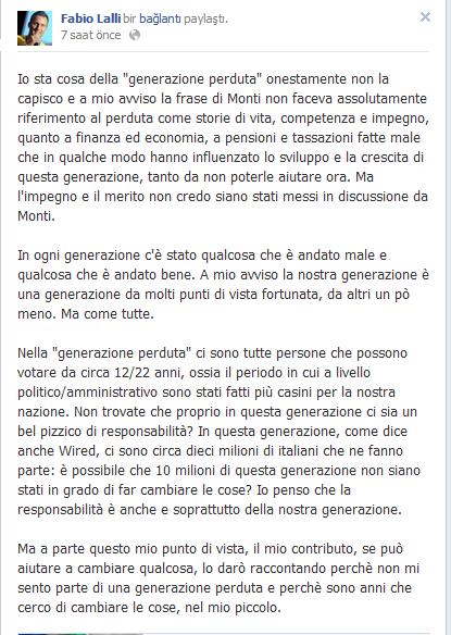 Generazione Perduta - il commento di Favio Lalli