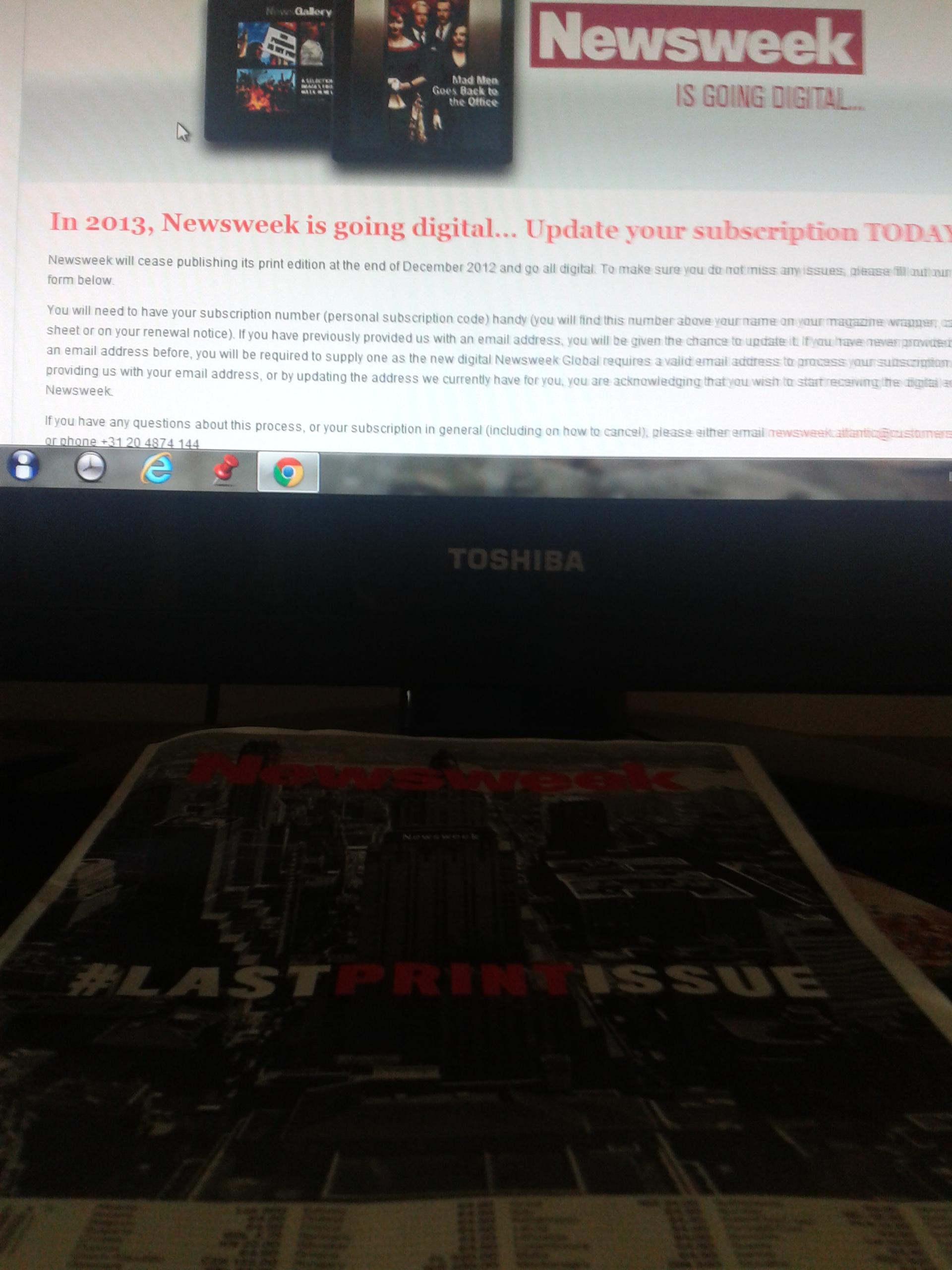 Newsweek #Lastprintissue cover