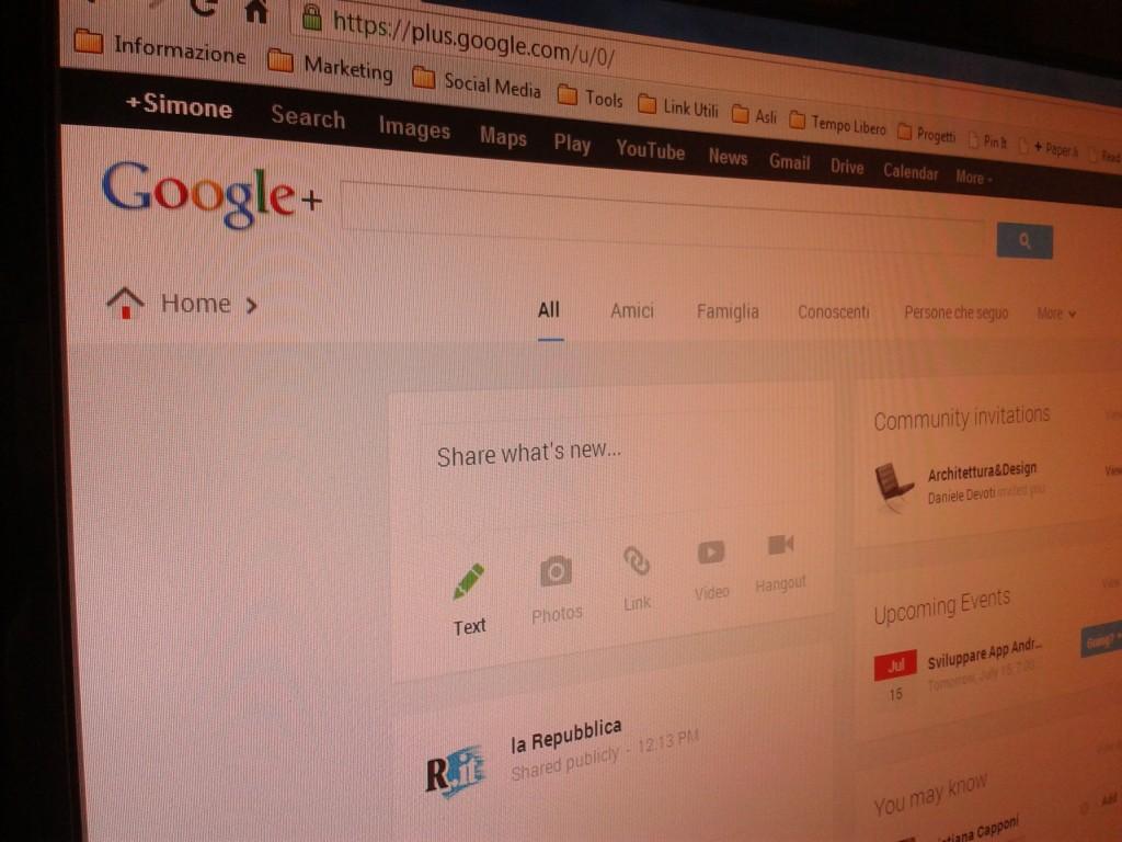 Google Plus Home Screen